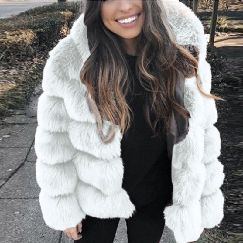 Best Selling Women's Faux Fur Coat With Cap Fashion Patchwork Coat 2020 New Faux Fox Fur From Factory шуба женская пальто
