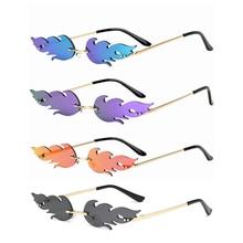 New Rimless Wave Sunglasses  Fire Flame Sunglasses Streetwear Car Driving Glasses Trending Narrow Fa