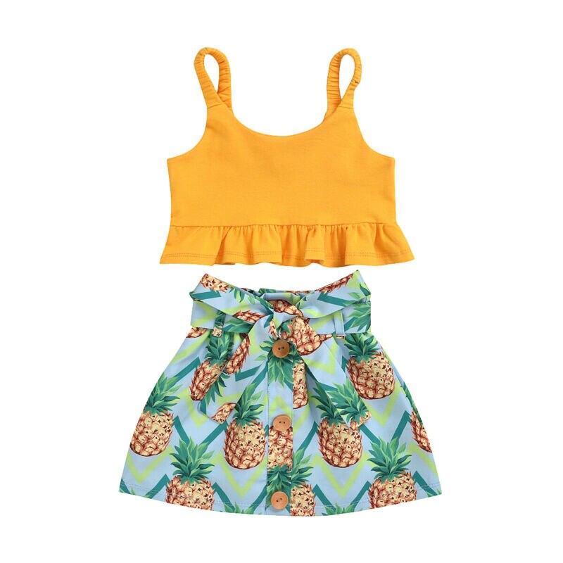 Ropa de verano para niñas pequeñas, camiseta sin mangas de verano, falda con piña, 2 uds., conjunto de ropa de verano sin mangas para niñas