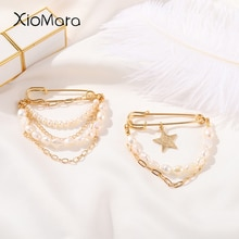 Pearl Metal Chain Brooches For Women Luxury Double Layer Gold Color Star Beaded Pendant Pins For Bac