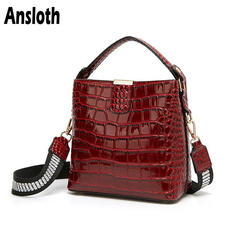 Ansloth Patent Leather Handbag Ladies Alligator Pattern Handle Bag Women Luxury Shoulder Bag Female Small Crossbody Bag HPS710
