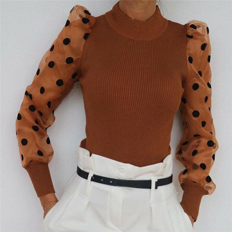 Mujeres primavera malla Puff camisa manga larga de punto acanalada suelta Casual Polka Dots blusa blusas elegante cuello alto fiesta ropa de fiesta