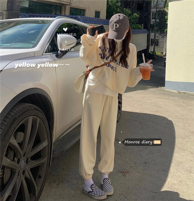 Chic Fashion Oversized Hoodies Leisure Sports Suit Women's 2021 Early Autumn New Sweater Wide Leg Pa