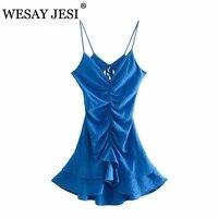 wesay jesi women clothes traf za summer fashion retro pure color sling mini dress sleeveless backless lace elegant beach dress