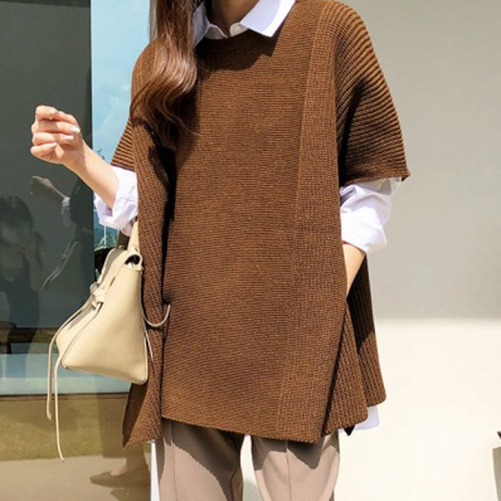 2021 Korean Fashion damska jesienno-zimowa wełniana kamizelka z dzianiny peleryna wokół szyi solidna damska z krótkim rękawem swobodny sweter
