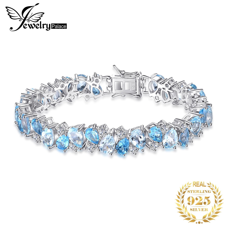 JewelryPalace de 23ct de Topacio Azul de Londres enlace directo pulsera Real de la joyería de la plata esterlina 925 para mujeres regalo
