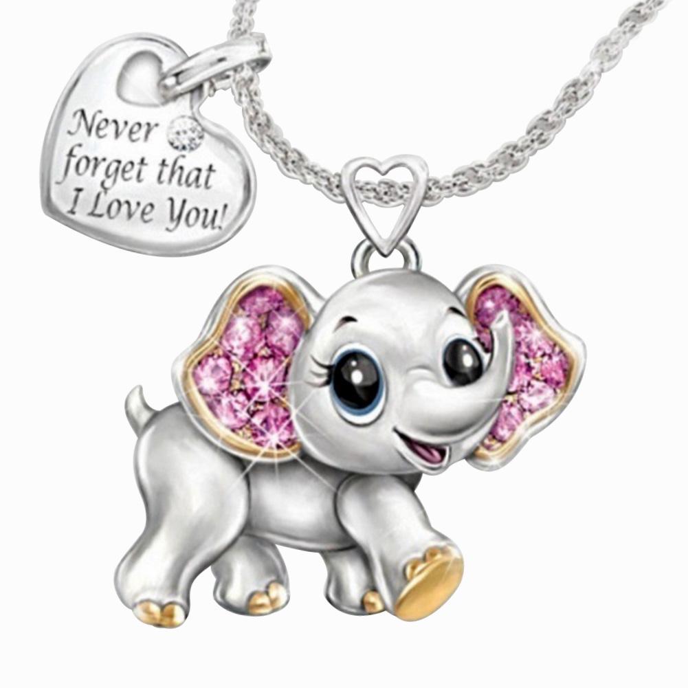 Nuevo elefante lindo nunca olvides que te amo estilo de moda collar de mujer elegante collar de aniversario para regalos de mujer