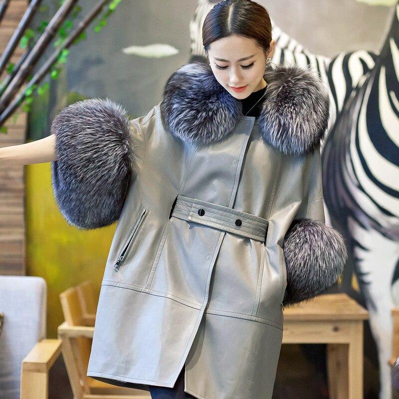 [TVVOVVIN] 2020 الخريف والشتاء منتجات جديدة الموضة الخفافيش كم الثعلب الفراء طوق جلد الغنم تقليد الفراء معطف B145