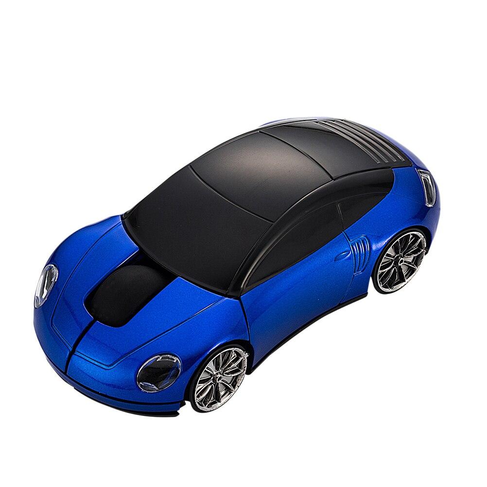 Ratón inalámbrico bluetooth para juegos 2,4 GHz Ratón Óptico inalámbrico ratón USB de gaming en forma de coche 3D sin batería para ordenador portátil (azul)
