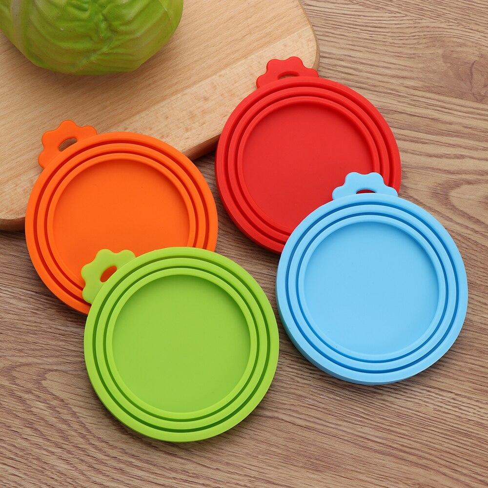 1pc 3 em 1 reutilizável armazenamento de alimentos manter fresco estanho capa latas pet pode tampa da caixa de silicone pode tampa quente cozinha suprimentos dropship