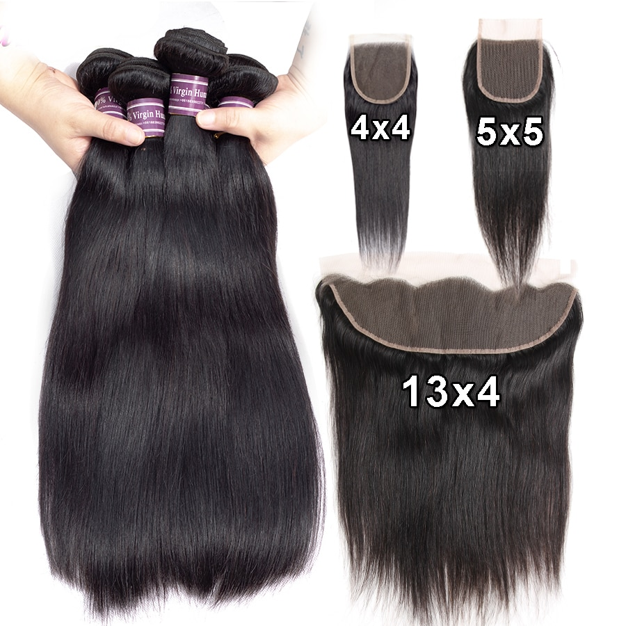 Human Hair Straight 3 4 Bundles With Lace Closure Frontal 4x4 5x5 Human Hair Extensions Straight Weave Bundles With 13x4 Frontal