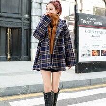 Abrigo coreano de Invierno para mujer 2020, abrigos a cuadros de lana Vintage a la moda, abrigo holgado con capucha y hombros descubiertos para mujer