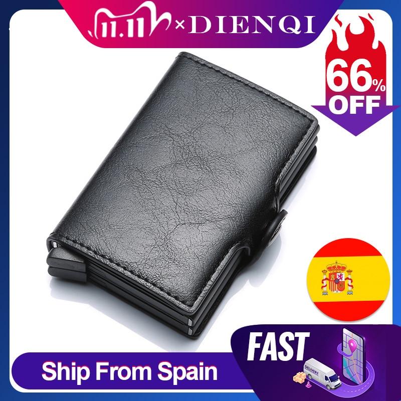 DIENQI Top Quality Wallet Men Money Bag Mini Purse Male Aluminium Rfid Card Holder Wallet Small Smar