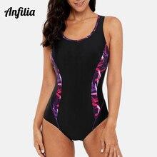 Anfilia las mujeres una pieza deportes traje de baño bañadores Color de la impresión de bloque de Monokini traje de playa traje de baño Bodi fitness