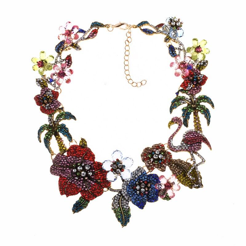 Nuevo diseño Za cuentas de cristal multicolores collares de flores declaración de diamantes de imitación gargantilla collar de pájaro joyería afilada