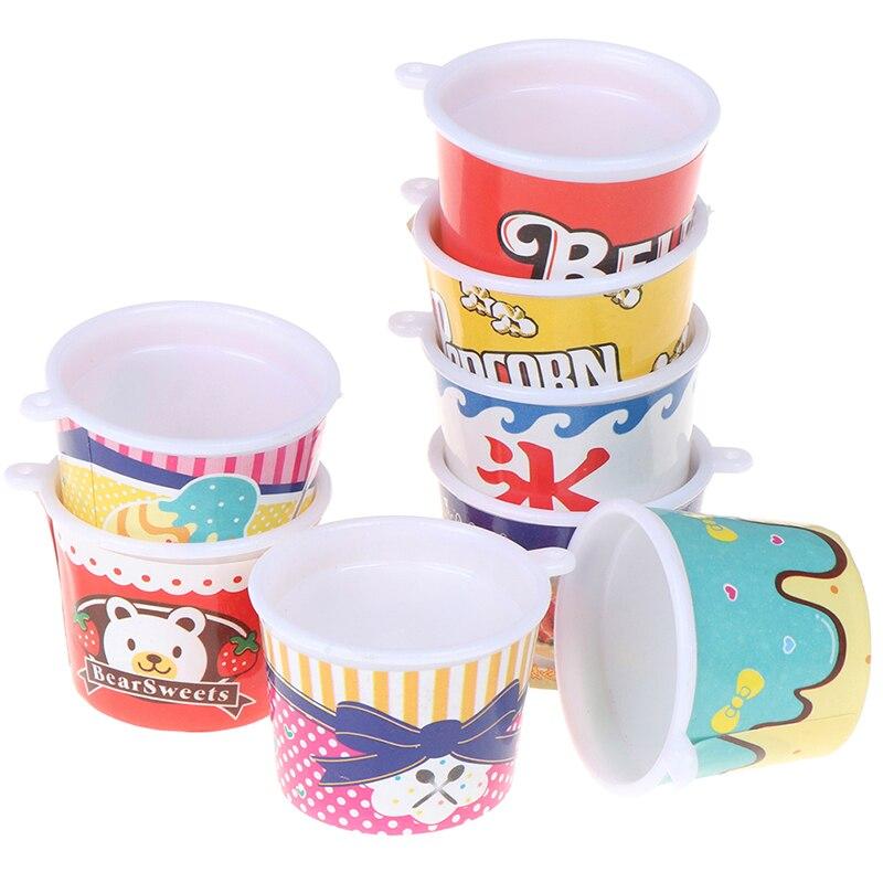 4 unids/set de hielo crema tazas/Pop maíz tazas/miniaturas vajilla/Gnomo de jardín Hada/terrario con musgo decoración/Bonsai accesorios de muñeca «hágalo usted mismo»