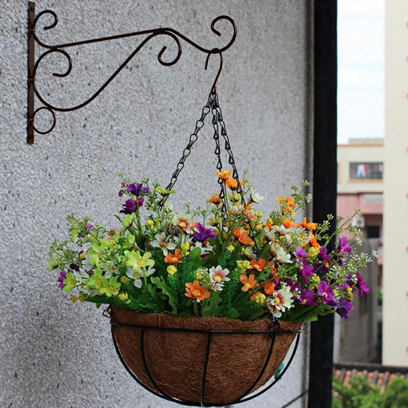 Montado en la pared gancho de balcón de hierro forjado macetas para flores y plantas decorativas estante colgando soporte cesta jardín artesanía