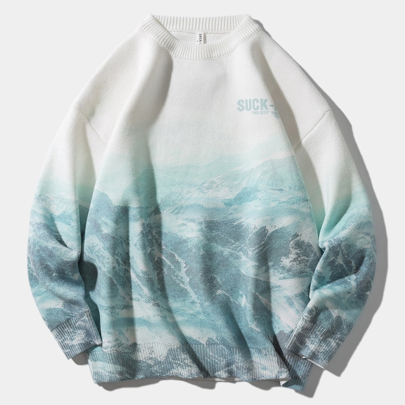 Sweaters Men  Snow Mountain Pullover Knitted Sweaters Harajuku Casual Knitwear Jumper Tops Hip Hop Streetwear Hip hop warm