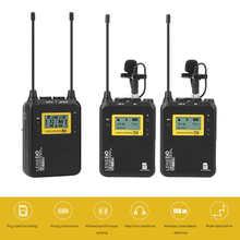Беспроводной микрофон LENSGO LWM 328C, профессиональная камера DSLR, петличный микрофон, передатчик, комплект для видеозаписи, интервью
