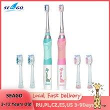 Spazzolino sonico elettrico per bambini SEAGO per 3-12 anni spazzolino LED Smart Timer + setole morbide 3 testine di ricambio