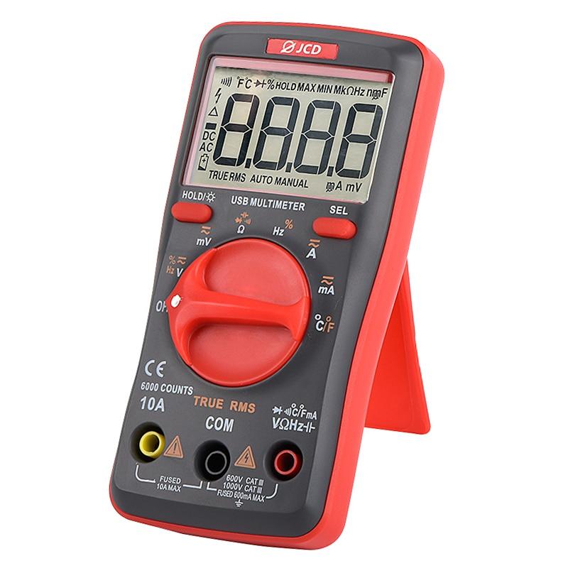 QHTITEC Multimeter Tester T-RMS Auto Ranging 6000 Counts Multimetro Digital With Tester Needle Tip Test Leads Repair Tool Set