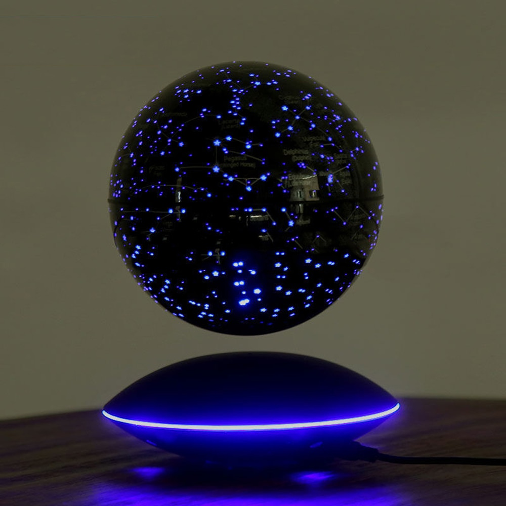 Magnetic Levitation Floating Globe 6inch Colorful Starry Sky Ball Light Power-Off Protection Smart Adsorption 360 Auto Rotating