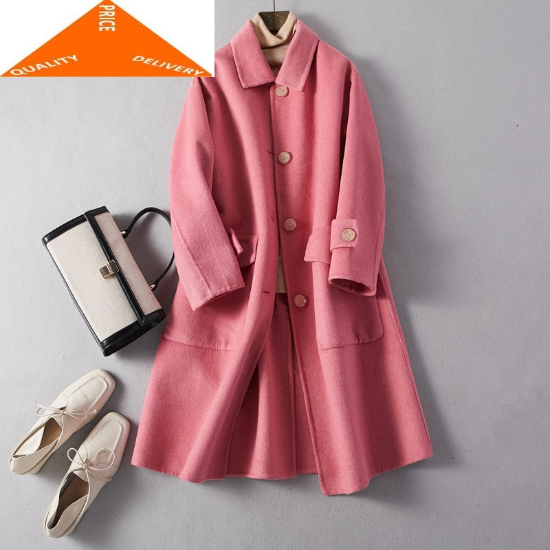 Abrigo de lana 100% para Mujer, chaqueta de lana larga de estilo...