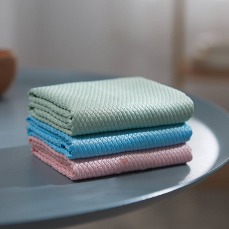 10pcs New Wave Pattern Fish Scale Cloth Rag Water Absorbable Glass Kitchen Cleaning Cloth Wipes For Table Window enlarge