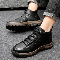 quality plush fur boots men genuine leather shoes men waterproof outdoor ankle snow boots walking shoes zapatos hombre