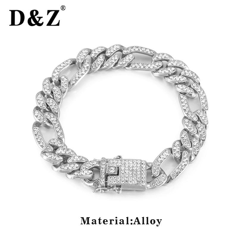 D & Z 13mm Iced Out Bling CZ Miami Curb Link Armband Männer Hip Hop Micro Gepflasterte Cuban Link kette Pulseira Masculina