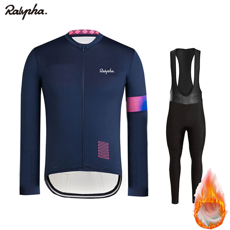 Ralvpha Ropa 2020 Winter Warm Fleece Jersey Men's Jersey Suits Riding Clothing Bib Pants Set Maillot Ciclismo triathlon tights