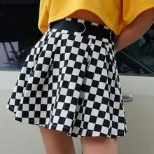 Gothic Black Women High Waist Cotton Black White Lattice Splice Pleated Skirt 2020 Goth Female Fashion Streetwear Mini Skirts