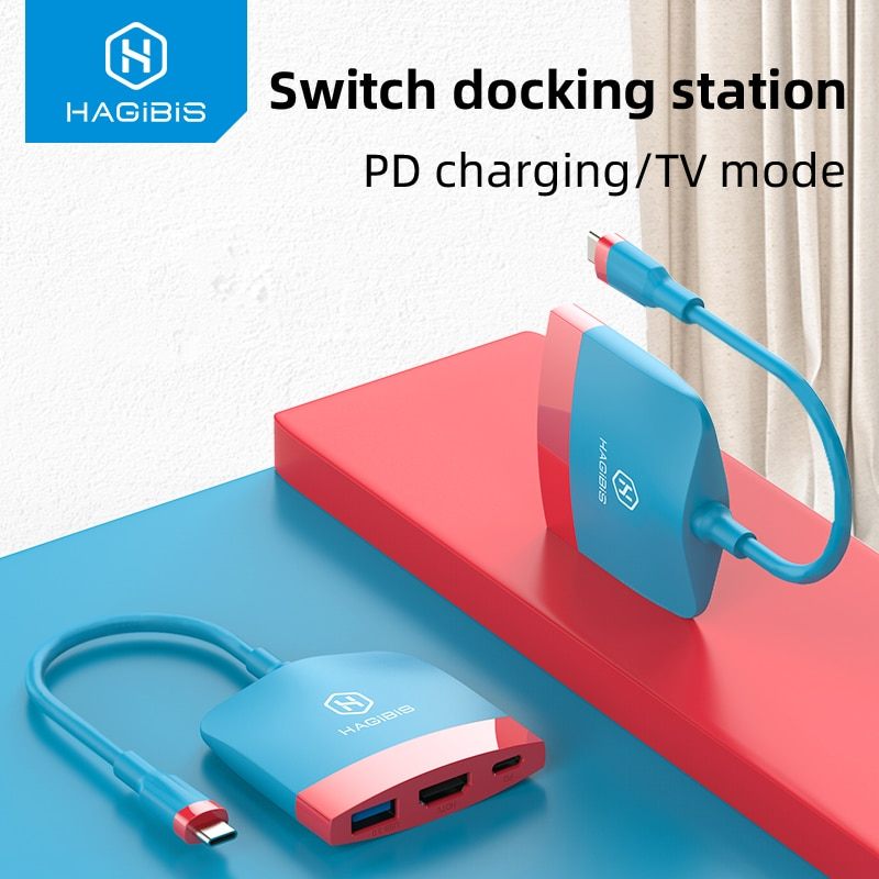 Hagibis Switch Dock TV Dock for Nintendo Switch Portable Docking Station USB C to 4K HDMI-compatible USB 3.0 PD for Macbook Pro