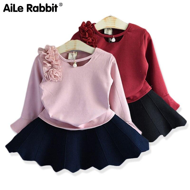 2019 новый осенний костюм для девочек Рубашка с длинными рукавами и юбка костюм из 2 предметов детская одежда с жемчужинами и цветами костюм с расклешенными рукавами
