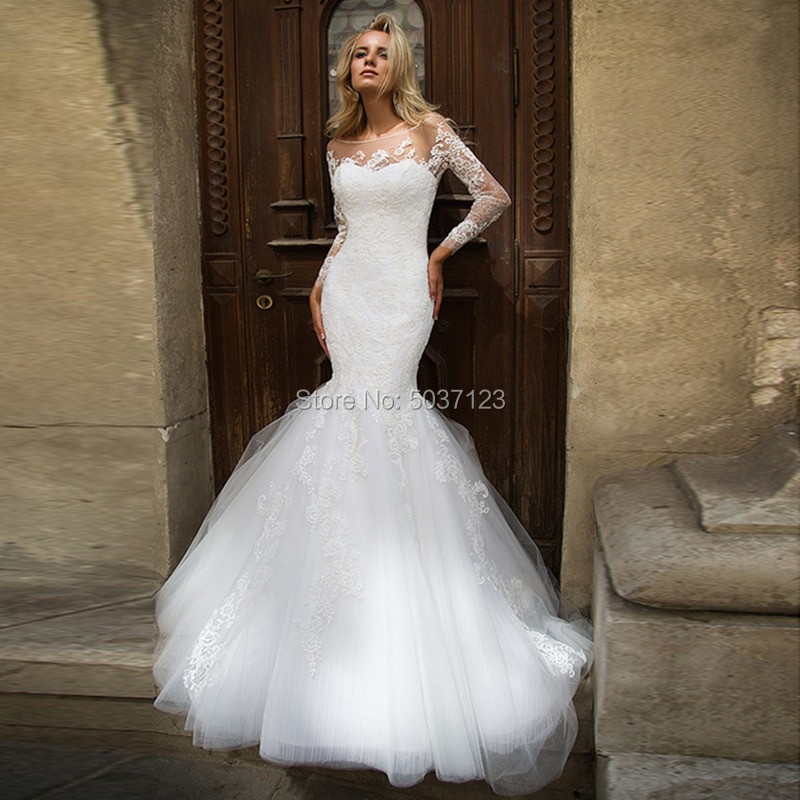 Elegante Langen Ärmeln Meerjungfrau Hochzeit Kleider Jewel Scoop Spitze Appliques Zipper Backless Brautkleid Vestido De Noiva Sweep Zug