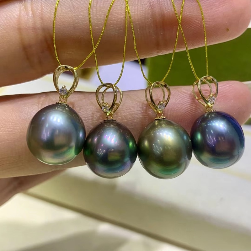 Promo HENGSHENG 11-12MM Rice Shape Tahiti Natural-Ocean Green Pearls Pendant, 18k Gold Clasp With Free Silver Chain Fine Jewelry
