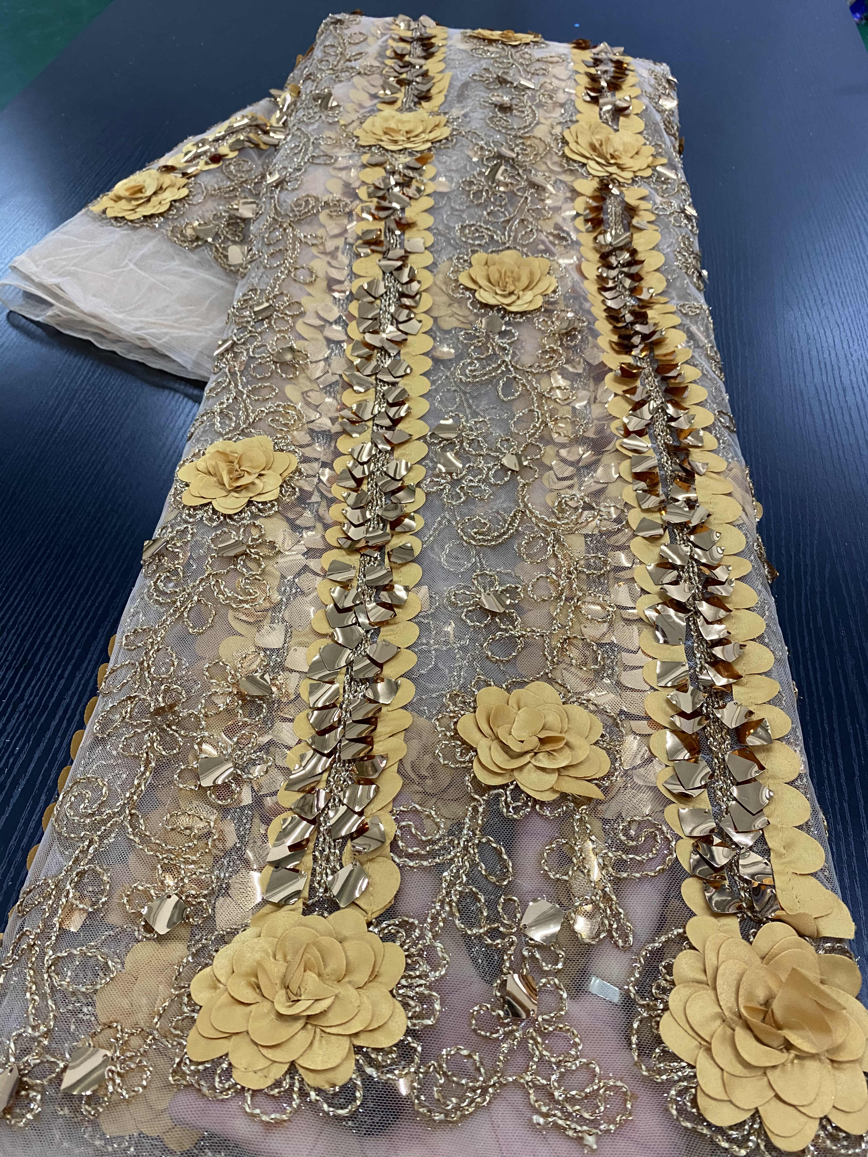African Lace Fabric 5Yards French Lace Fabric 2020 High Quality Lace Nigerian Sequins Lace Fabrics For Wedding Sewing YA2631B nigerian sequins lace fabrics 2020 high quality lace african lace fabric wedding french tulle lace material sewing ya3712b 6