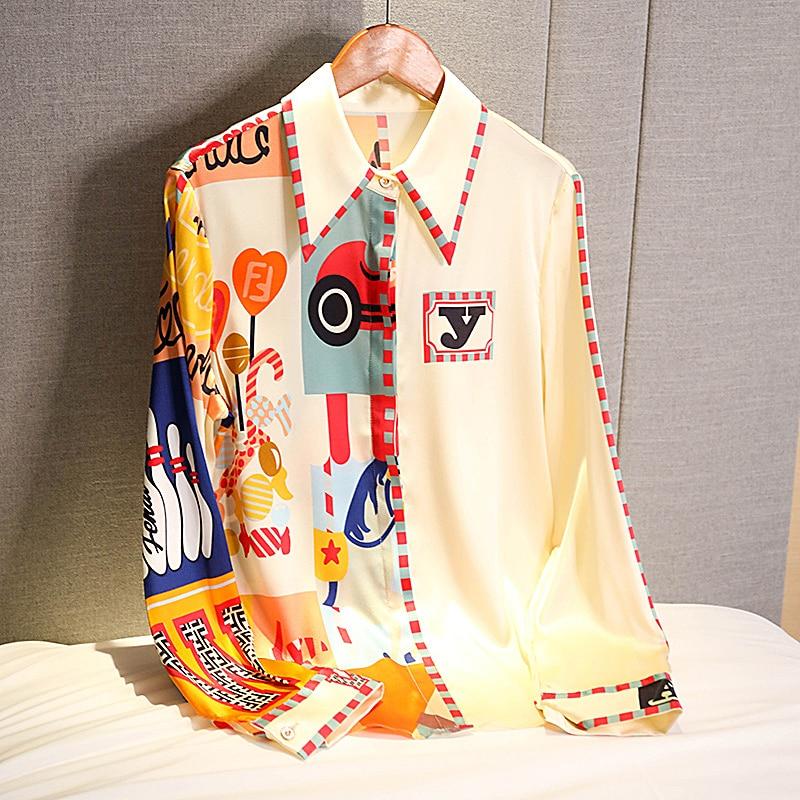 أنيقة طباعة بلوزة شيفون المرأة الكورية طويلة الأكمام قميص موديس القمم 2021 الخريف وصول جديد