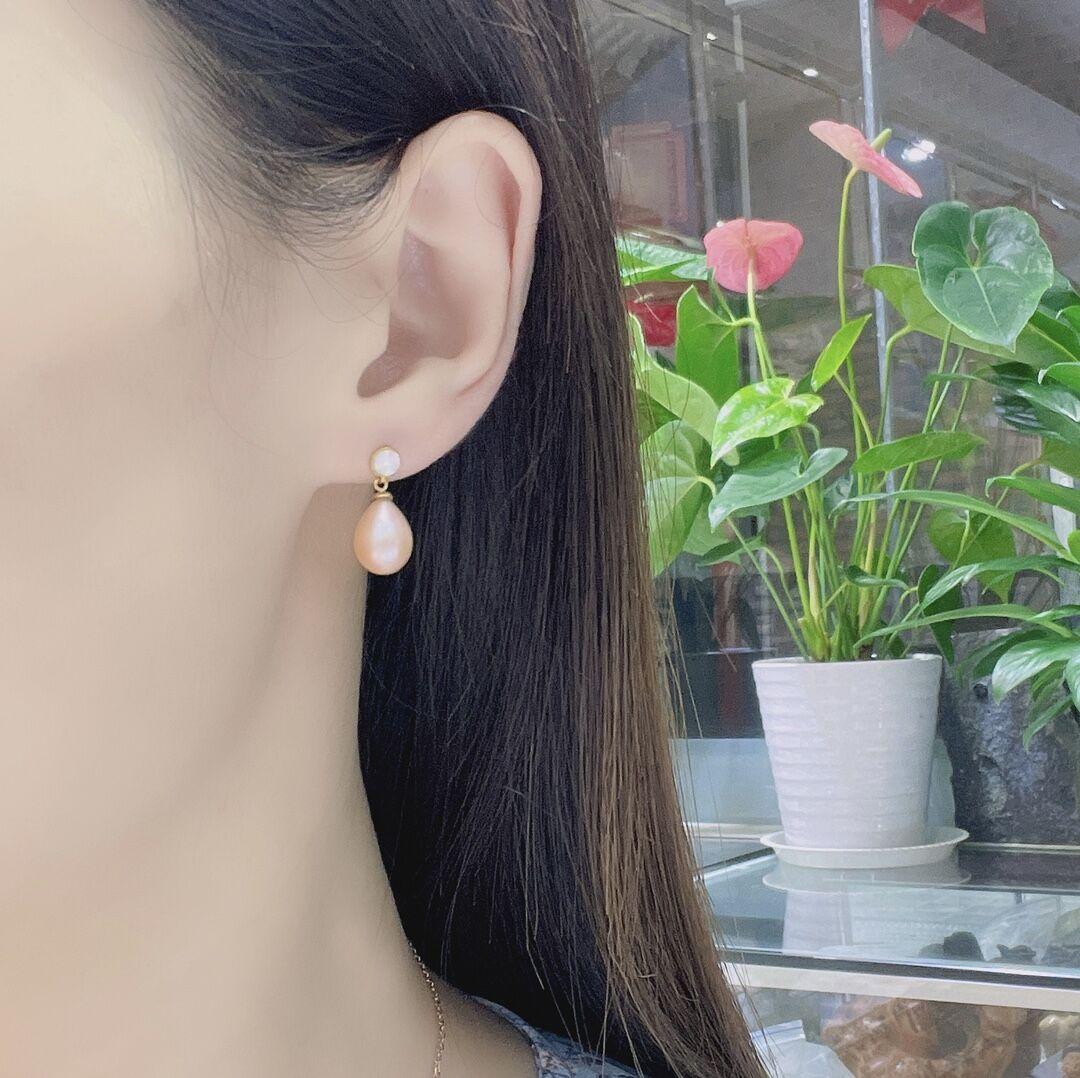 shilovem 18k yellow Natural freshwater pearls Drop Earrings fine Jewelry women trendy wedding Christmas gift new myme8-96612zz