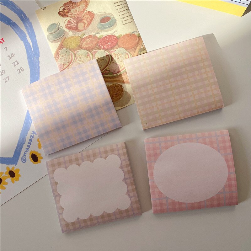 Korea INS wind retro plaid small fresh and gentle girl style note paper hand account non-sticky pad