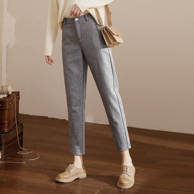 Женские осенне-зимние шаровары, новые женские облегающие длинные брюки, женские однотонные брюки в стиле High Street