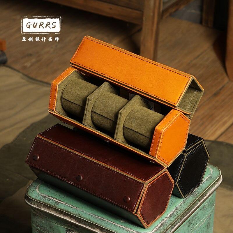 Handmade Leather Black Watch Boxes Storage Organizer Box First Layer Cowhide Watch Box Vintage Men Travel Roll Storage Box Gift enlarge