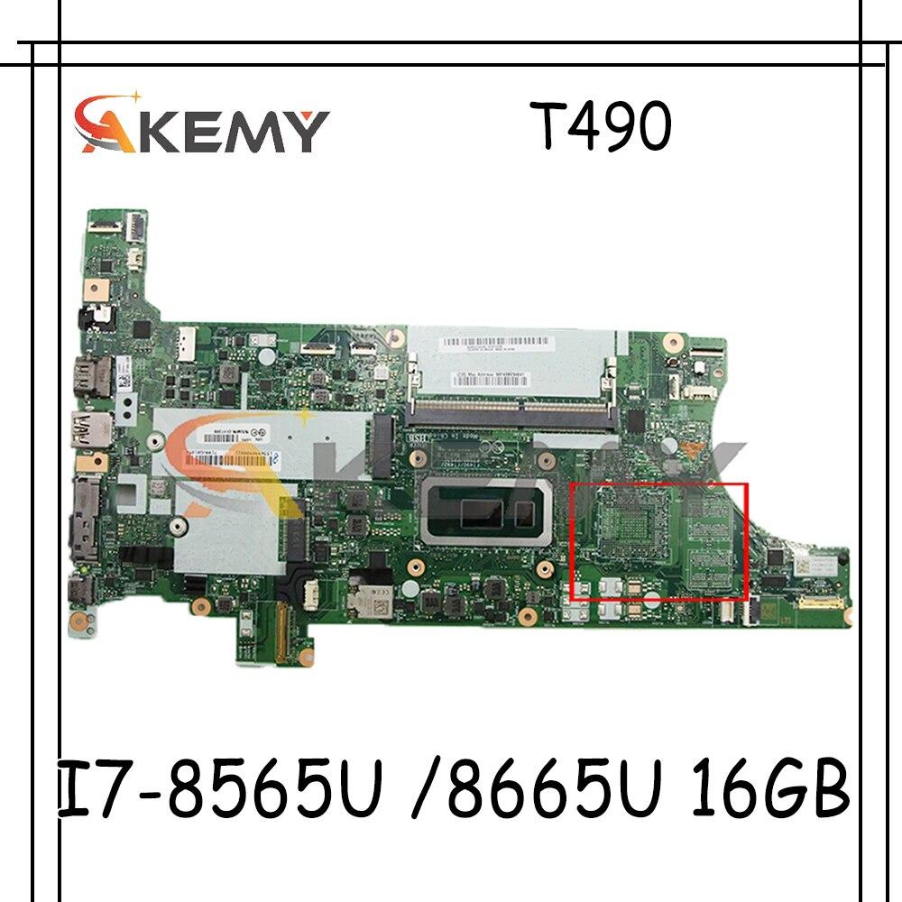 لينوفو ثينك باد T490 اللوحة الأم NM-B901 ث/وحدة المعالجة المركزية I7-8565U /8665U 16GB RAM الفراء 5B20W29465 02HK924 اللوحة الرئيسية