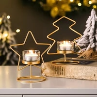 nordic golden simple star christmas candle holders living room table candelabra ornaments christmas decor candlestick gift