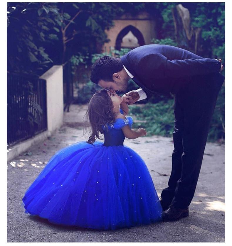 first stories cinderella Cinderella Flower Girl Dresses Off Shoulder Blue Ball Gown Princess Kids Pageant First Communion Dresses
