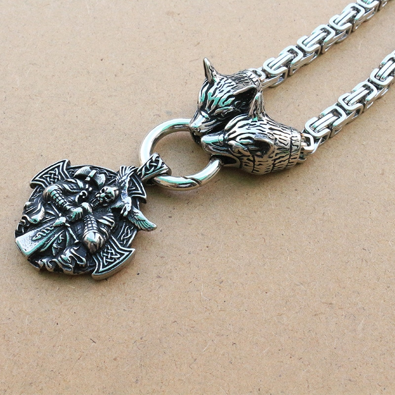 1 piezas de acero inoxidable Lobo vikingo cabeza cadena con Odin por Helena Rosova colgante nórdico de viking Cruz Cuervo collar