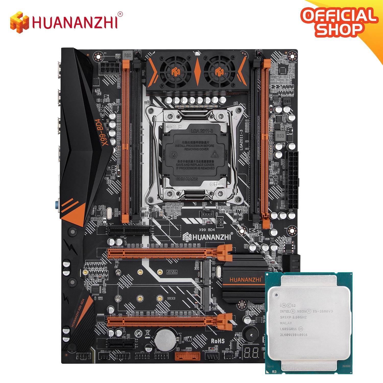 HUANANZHI X99 BD4 X99 اللوحة الأم مع إنتل سيون E5 2680 v3 LGA2011-3 DDR4 RECC/غير الذاكرة كومبو مجموعة NVME NGFF SATA USB 3.0