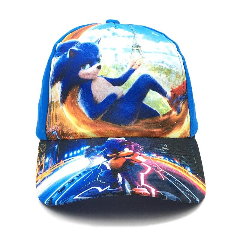 New 2-9 Years Sonic Boy Children Hat Cartoon character Baseball cap Kids cotton snapback Fashion hat