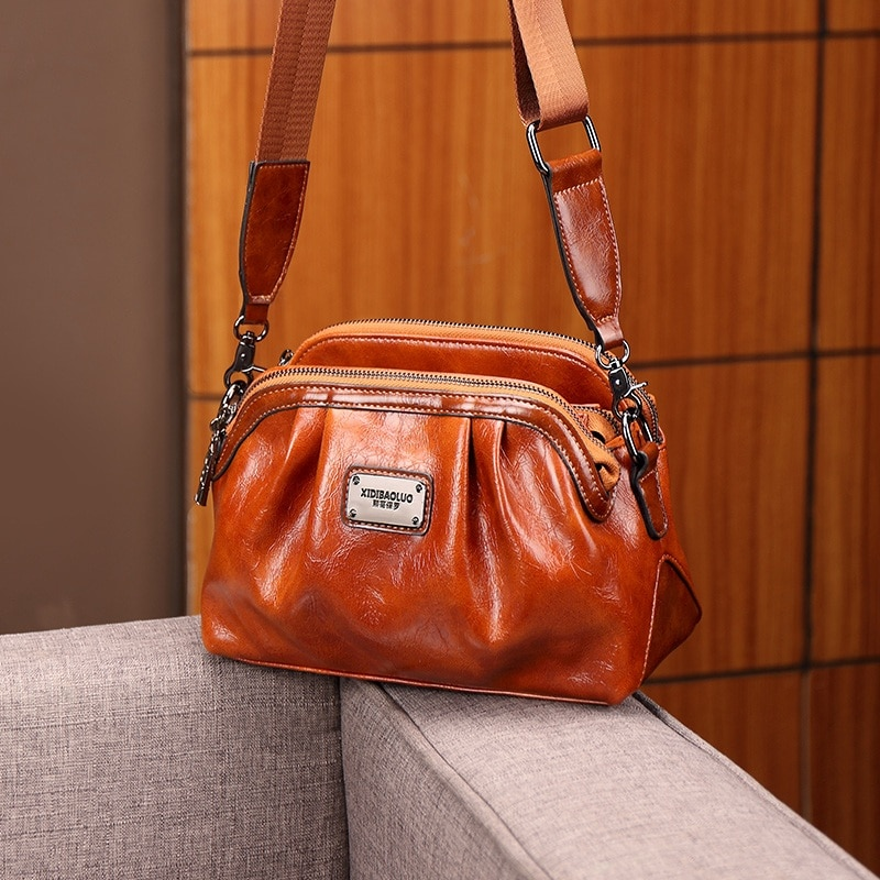 luxury women genuine leather handbags fashion rivet cow leather messenger shoulder bags bolsas feminina designer phone bag Bags For Women 2020 Luxury Designer Leather Shoulder Bag Ladies Cross body Bags Female Shopper Handbags Messenger Bolsa Feminina