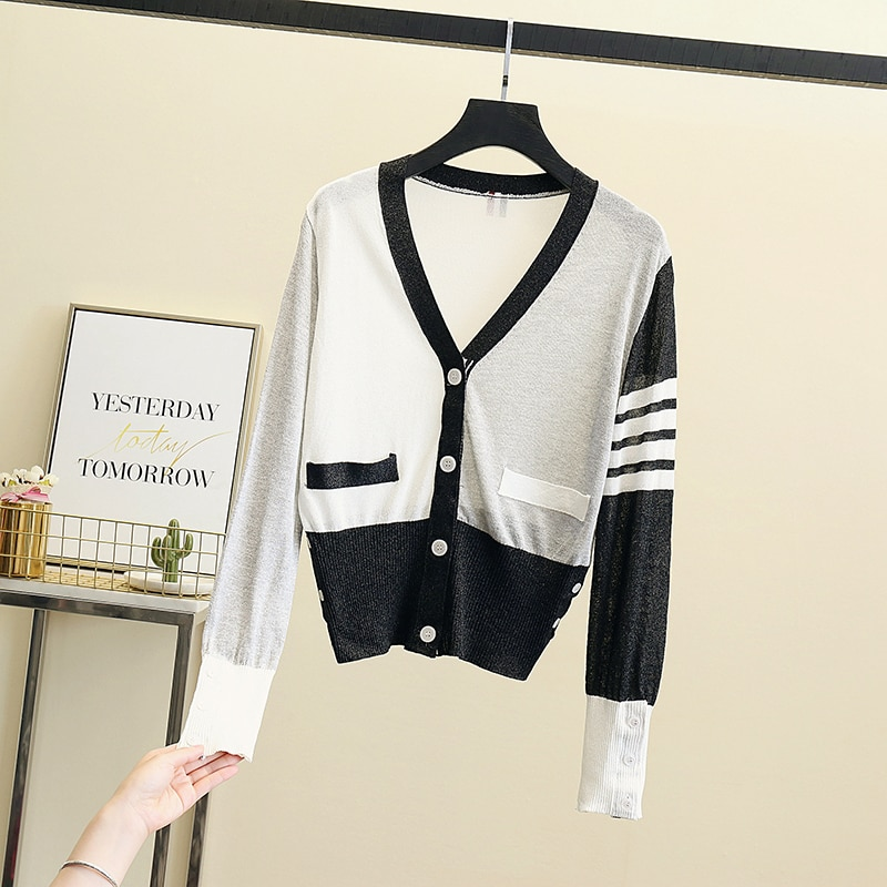 2021 summer Sweaters for Women Vintage Knitted Cardigan thin V Neck Sweater Female Stripe Loose Thick Wool Crop Top with Sleeves enlarge